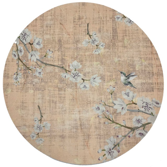 """Asian Nicolette Mayer Blossom Fantasia Romance 16"""" Round Pebble Placemats, Set of 4 For Sale - Image 3 of 3"""