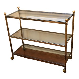 Mid 20th Century Hollywood Regency Brass Cart For Sale