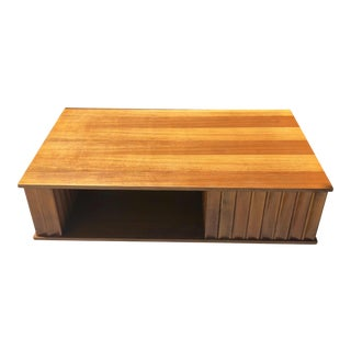 1960s Danish Modern Rectangular Wood Coffee Table For Sale