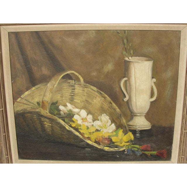 Vintage Mid Century Modern Oil on Canvas Still Life by Blanche Colman This is a very nice mid century modern still life...