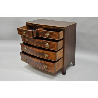 American Federal Crotch Mahogany Inlaid 5 Drawer Bachelor Bowfront Chest Dresser Preview