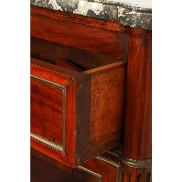 Brown Late 19th Century Federal Style Mahogany Cabinet with Italian Marble Top For Sale - Image 8 of 11