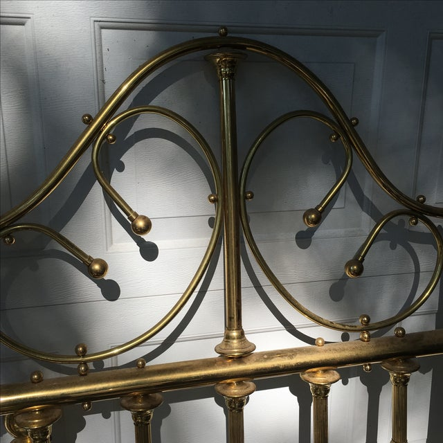 Metal Vintage Brass Twin Bed For Sale - Image 7 of 11
