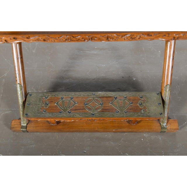 Wood Chinese Carved Horseshoes Folding Chairs - a Pair For Sale - Image 7 of 10