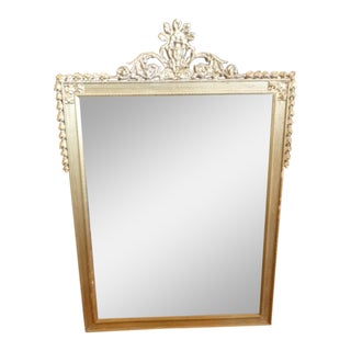 Crested Classical Wall Mirror in Gold For Sale