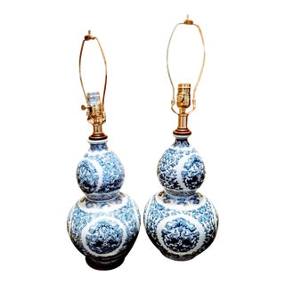 A Pair Ralph Lauren Blue and White Gourd Style Chinoiserie Ceramic Table Lamps For Sale