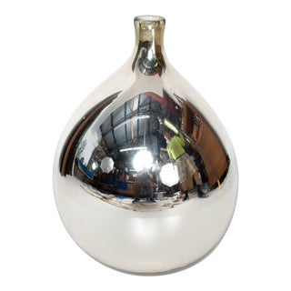Mexican Modernist Mid Century Large Mercury Glass Bottle in Silver, 1950s For Sale