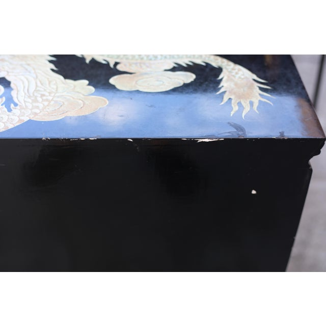 Vintage Chinoiserie Black Lacquered Cabinet With Carved Dragons For Sale - Image 11 of 12