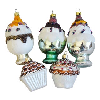 Fancy Ice Cream & Cupcake Glitter Christmas Ornaments - Set of 5 For Sale