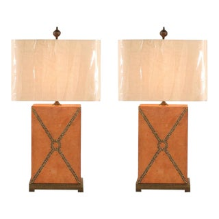 Beautiful Pair of Vintage Custom Brass Studded Leather Lamps For Sale
