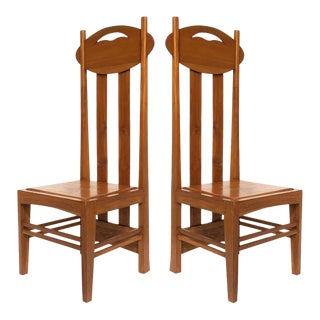 1970s Charles Rennie Mackintosh Style High-Back Chairs - a Pair For Sale