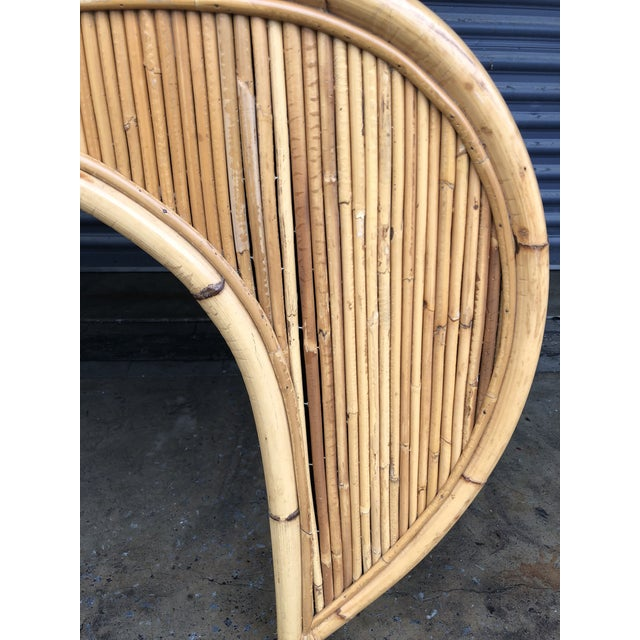 Wood Vintage Curved Split Reed Rattan Desk With Chair For Sale - Image 7 of 12