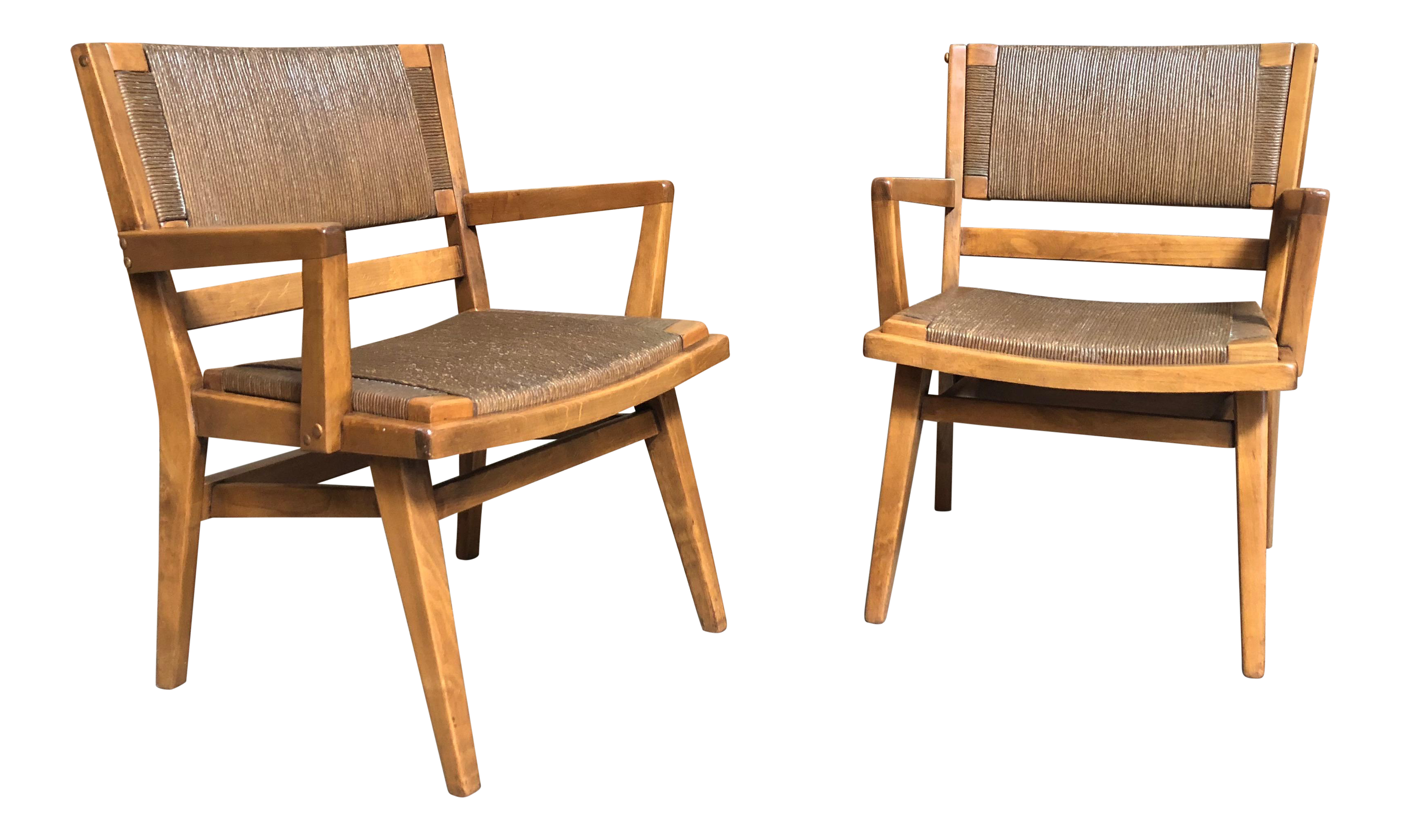 Mid century modern woven rush seat wooden arm chairs chairish