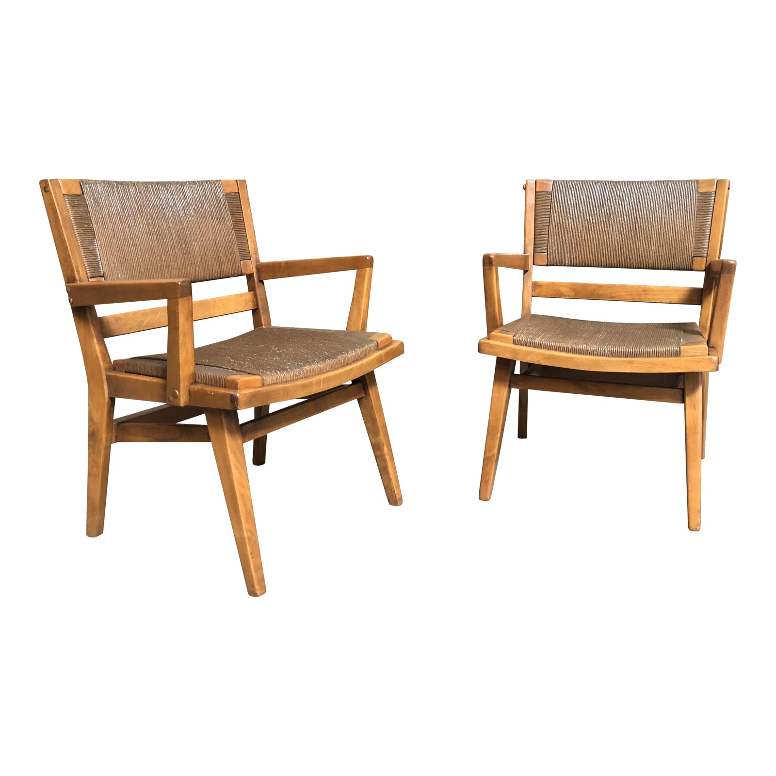Mid century modern woven rush seat wooden arm chairs chairish