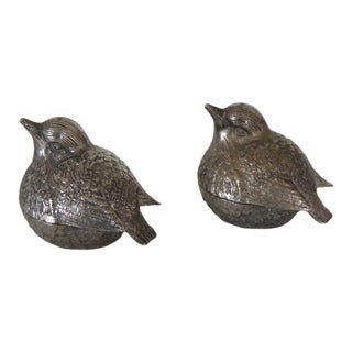 Pair of Small Pewter Birds Salt & Pepper Dispensers For Sale