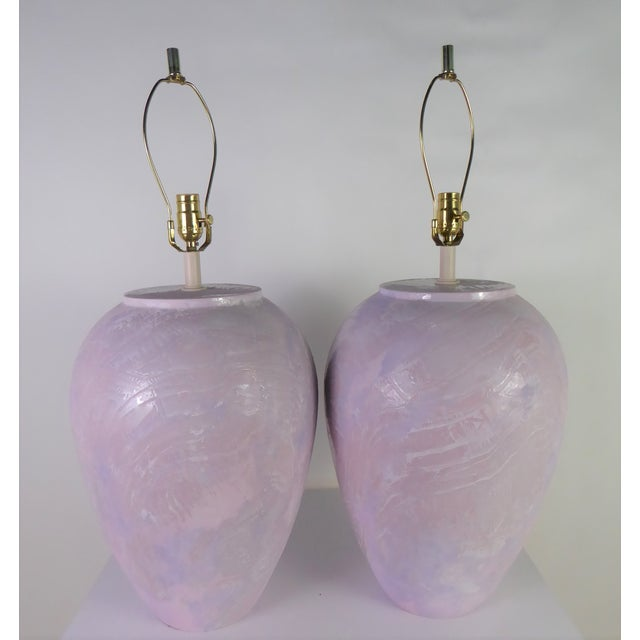 Ceramic 1980s Mid-Century Modern Sunset Lamps Glazed Oil Jar Form Table Lamps - a Pair For Sale - Image 7 of 7