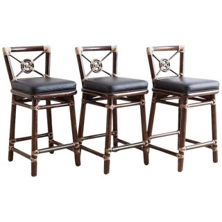 McGuire Rattan and Leather Target Design Counter Barstools For Sale