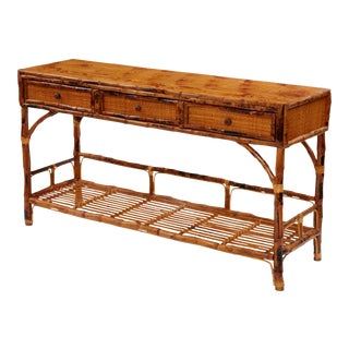 Large Buffet Console, Brown, Rattan For Sale