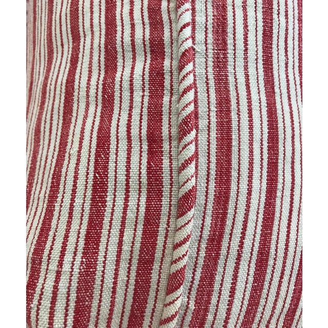 Vintage French Ticking Stripe Pillow Covers in Red - a Pair For Sale - Image 4 of 8