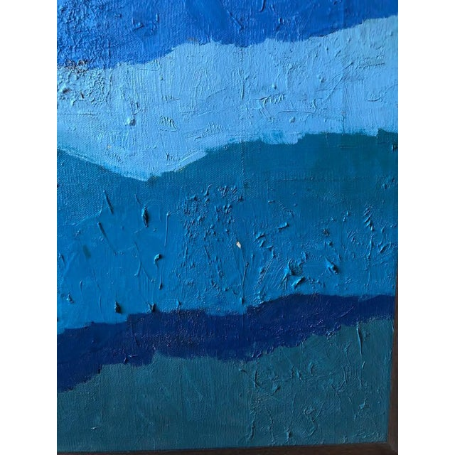 "Abstract Abstract ""Shades of Blue"" Oil Painting on Canvas For Sale - Image 3 of 9"