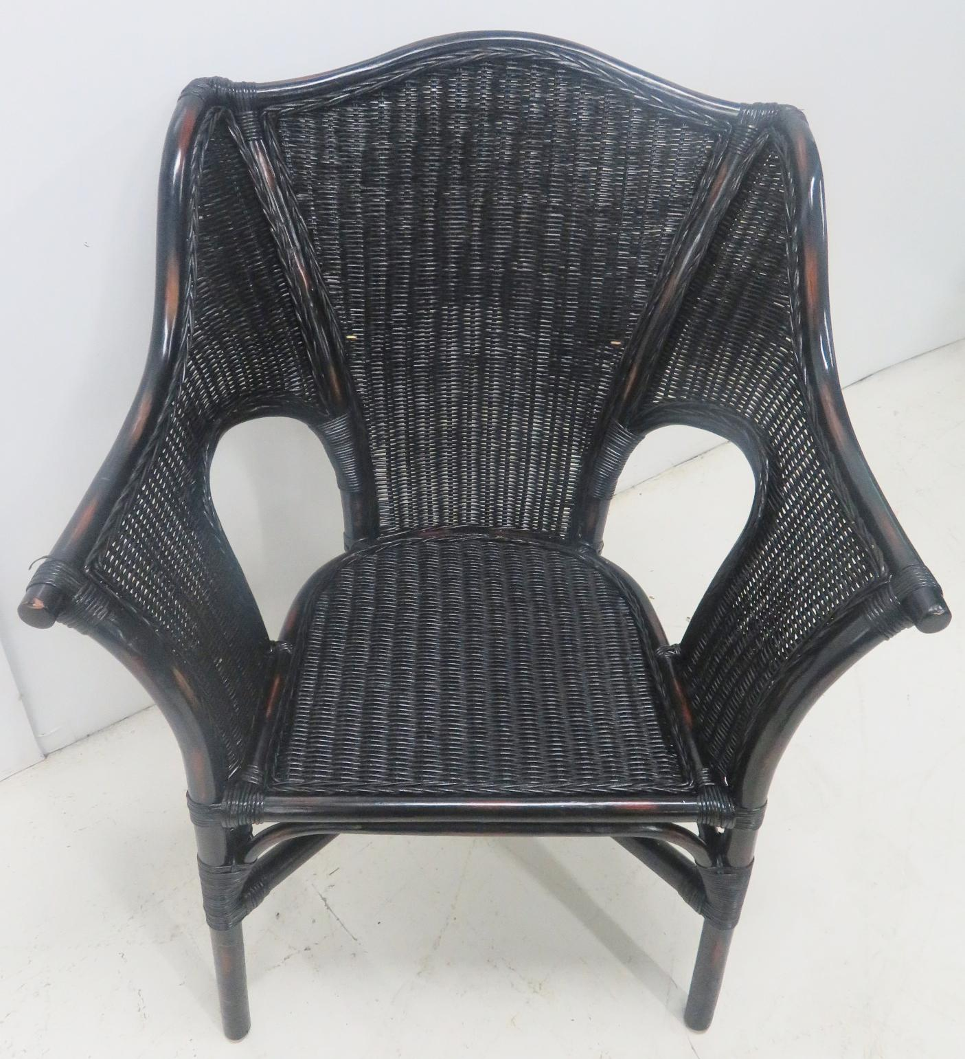 Black Wicker Side Chairs   A Pair For Sale   Image 5 Of 7