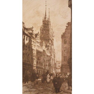 "1912 ""A Street in Nuremberg"" Gazette Des Beaux Arts Etching by Frank Milton Armington For Sale"