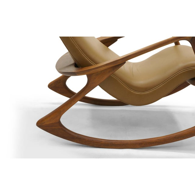 Vladimir Kagan Contour Rocker with Ottoman, Holly Hunt Leather, Excellent - Image 4 of 11