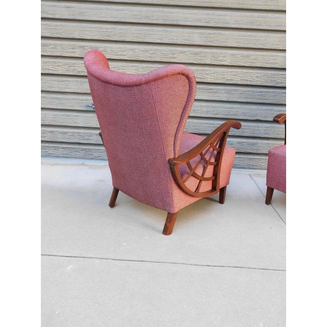 1940s Vintage Swedish Modernist Winged Back Spider Web Armchairs- a Pair For Sale - Image 4 of 13