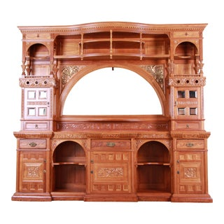 19th Century Victorian Hand-Carved Cherry Wood Bar Back or Sideboard, Newly Restored For Sale