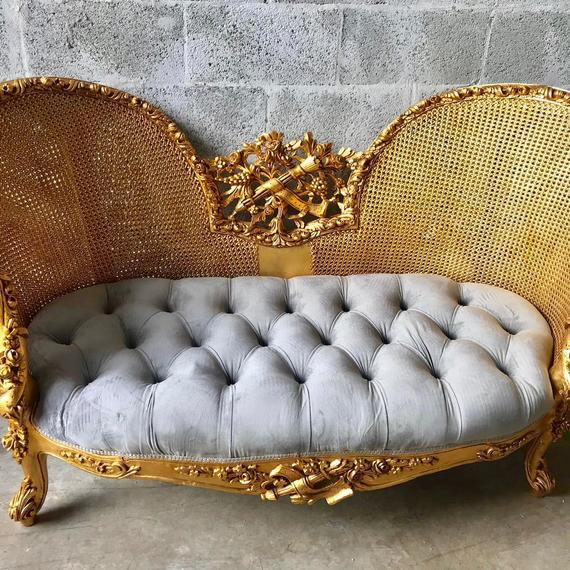 French Modern French Louis XV Style Marquise Sofa For Sale - Image 3 of 7