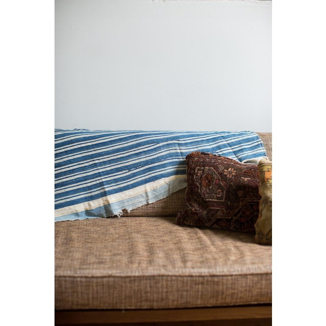 African Vintage Hand Woven Indigo Stripe Throw For Sale - Image 3 of 7