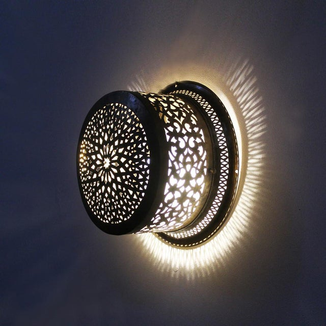 Brass Moroccan Ceiling/Wall Lantern - Image 2 of 2