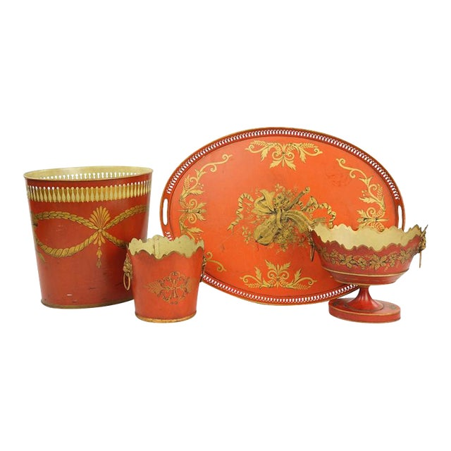 Collection of English Tole Items Including Waist Paper, Large Tray, Two Planters For Sale - Image 4 of 4