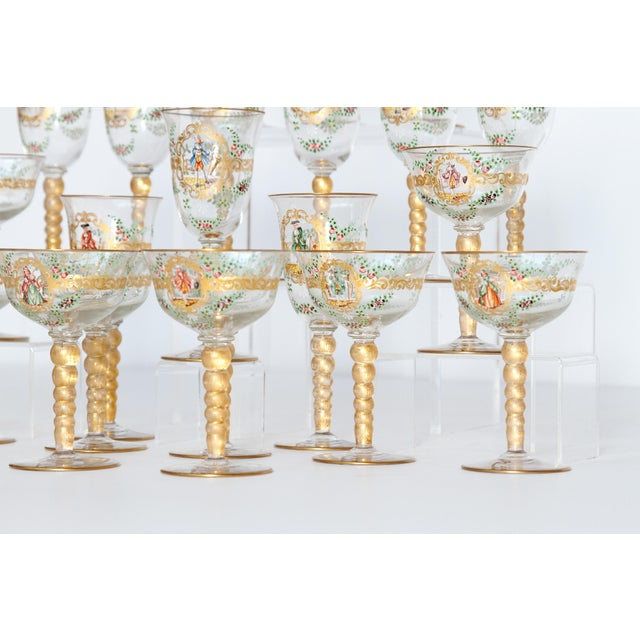 Early 20th Century Enameled Venetian Glass Stemware / 23 Piece Group For Sale - Image 5 of 12