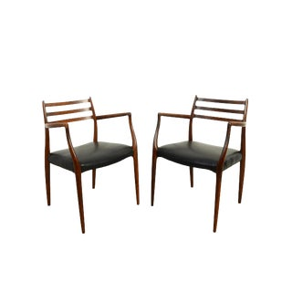 1960s Vintage J.L. Moller Rosewood Arm Chairs- A Pair For Sale
