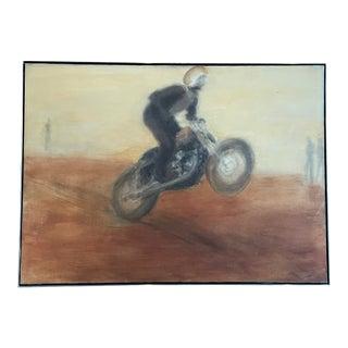 1970s Motorcyclist Oil Painting by Chuck Arnett, Framed For Sale