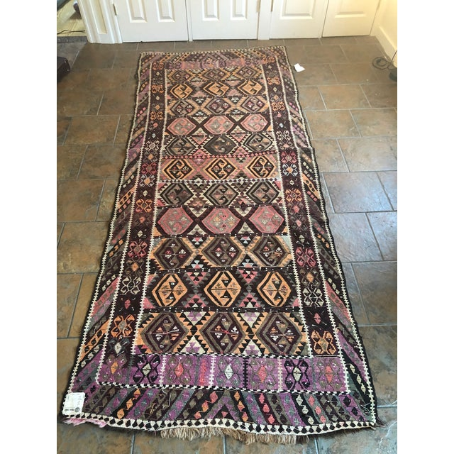 Antique Earth Tones Kilim Rug - 4′ × 9′ For Sale - Image 9 of 11