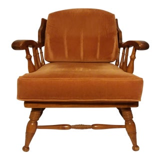 Vintage Mid Century Ethan Allen Style Maple Club Chair For Sale