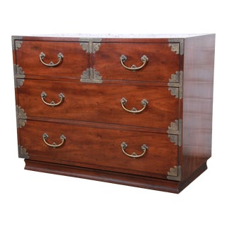 Henredon Chinoiserie Campaign Style Walnut Four-Drawer Dresser Chest For Sale