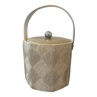 Mid-Century Georges Briard Faux Grasscloth Ice Bucket For Sale