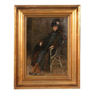 Early 20th Century Antique S. Jurgensen Portrait of a Lady Lounging in a Chair Original Danish Oil Painting For Sale