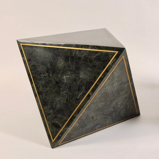 Green 1980s Octahedron Tessellated Marble Side Tables For Sale - Image 8 of 10
