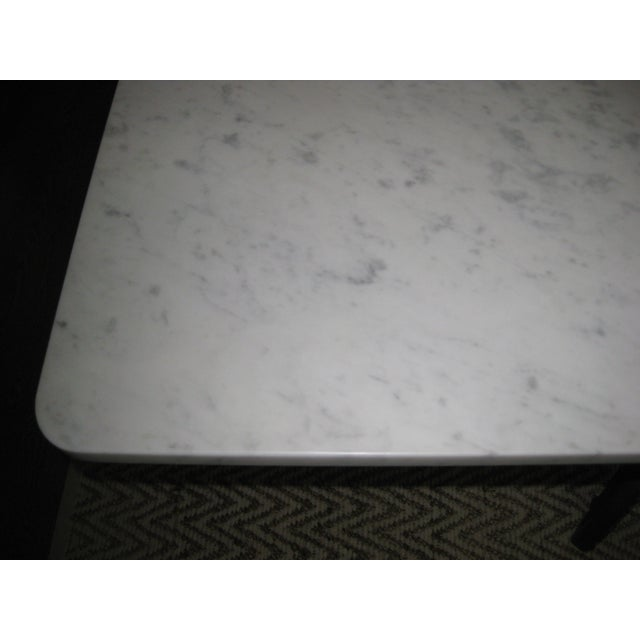 Honed Carrara Marble & Iron Dining Table - Image 4 of 5