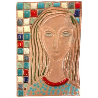 Stunning Large Harris Strong Woman Tile Art B For Sale