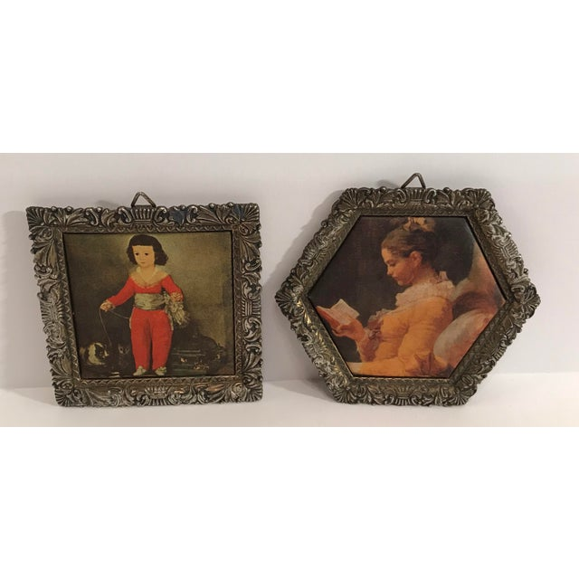 """Nice pair of metal frame miniature silk prints. Made in Japan. Square one is 3.25"""" x 3.25"""" x .25"""". Six sided one..."""