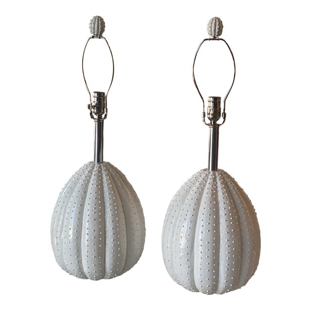 Vintage White Sea Urchin Style Palm Beach Table Lamps Newly Restored -A Pair For Sale