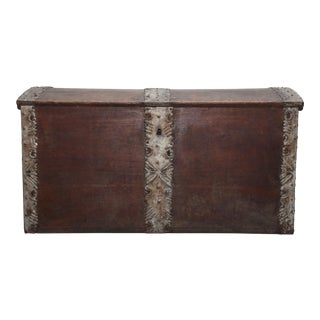 Mid 19th Century Danish Primitive Iron Clad Chest For Sale