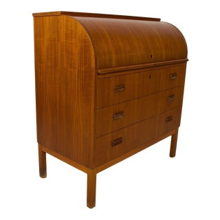Secretary Roll Top Desk Delightful Danish Modern in Teak Wood 1960s For Sale