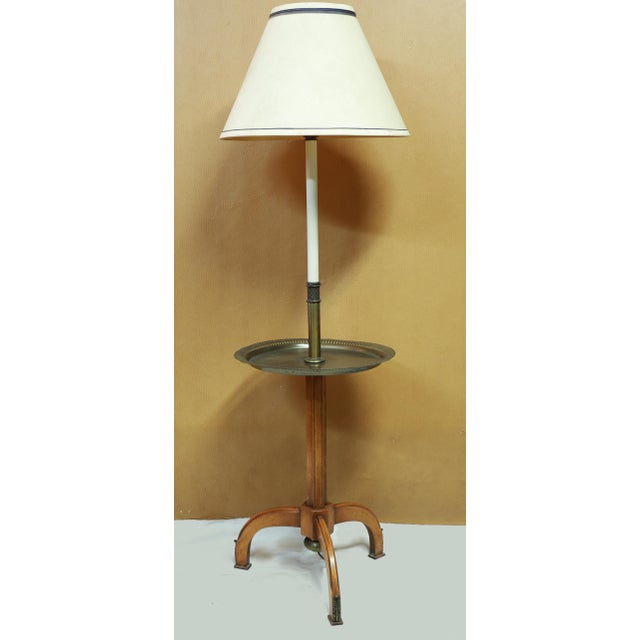Lightolier, Gerald Thurston Style Stiffel Brass and Atomic Age, Maple Tripod Base, Floor Lamp End Table With Shade For Sale - Image 12 of 12