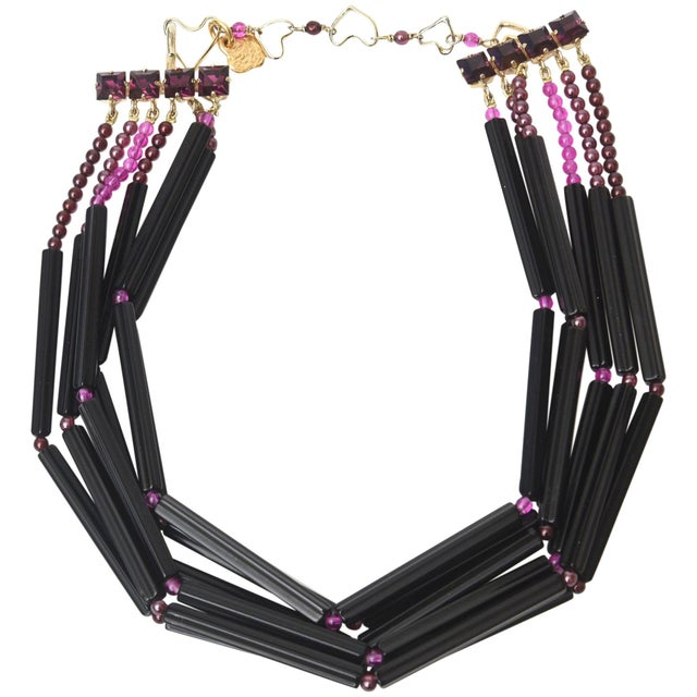 Yves Saint Laurent Rare Black and Purple Glass 6 Strand Necklace Vintage For Sale - Image 11 of 11